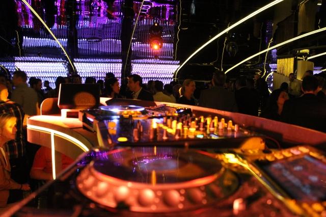 DJ booth Bond Bar main room