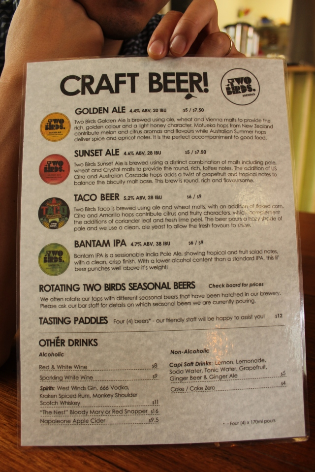 Two Birds Rockwell & Sons menu craft beer